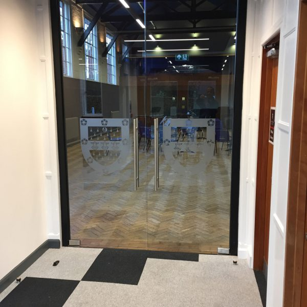 etched glass door for office
